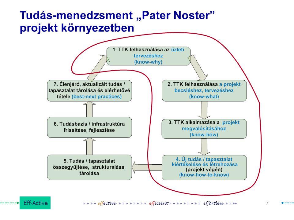 "Eff-Active 7 » » » » effective » » » » » » » » efficient » » » » » » » » » effortless » » »» Tudás-menedzsment ""Pater Noster"" projekt környezetben"
