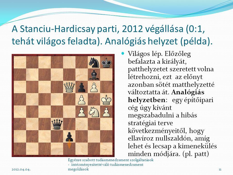 A Stanciu-Hardicsay parti, 2012 végállása (0:1, tehát világos feladta). Analógiás helyzet (példa). Világos lép. Előzőleg befalazta a királyát, patthel