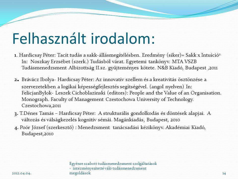 Felhasznált irodalom: 1. Hardicsay Péter: Tacit tudás a sakk-állásmegítélésben. Eredmény (siker)= Sakk x Intuíció 2 In: Noszkay Erzsébet (szerk.) Tudá