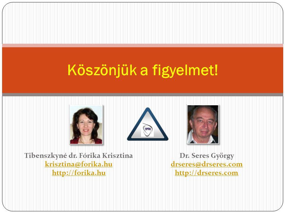 Köszönjük a figyelmet! Dr. Seres György drseres@drseres.com http://drseres.com Tibenszkyné dr. Fórika Krisztina krisztina@forika.hu krisztina@forika.h