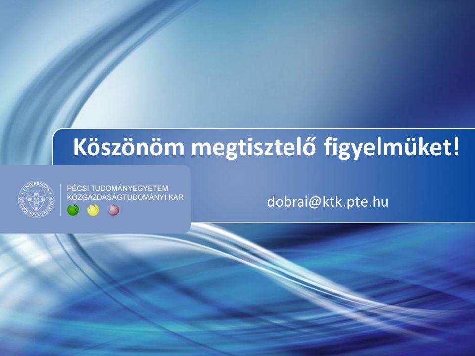 Köszönöm megtisztelő figyelmüket! dobrai@ktk.pte.hu