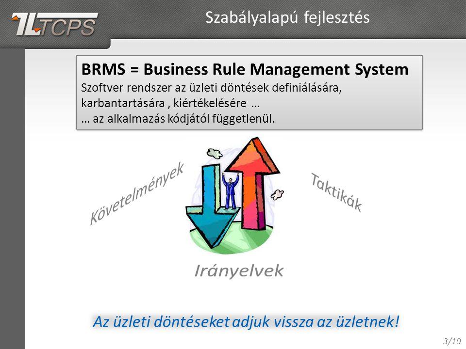 3/10 Szabályalapú fejlesztés BRMS = Business Rule Management System Szoftver rendszer az üzleti döntések definiálására, karbantartására, kiértékelésére … … az alkalmazás kódjától függetlenül.