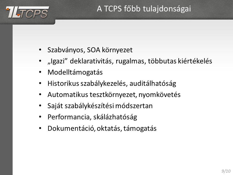 """9/10 Szabványos, SOA környezet """"Igazi deklarativitás, rugalmas, többutas kiértékelés Modelltámogatás Historikus szabálykezelés, auditálhatóság Automatikus tesztkörnyezet, nyomkövetés Saját szabálykészítési módszertan Performancia, skálázhatóság Dokumentáció, oktatás, támogatás A TCPS főbb tulajdonságai"""
