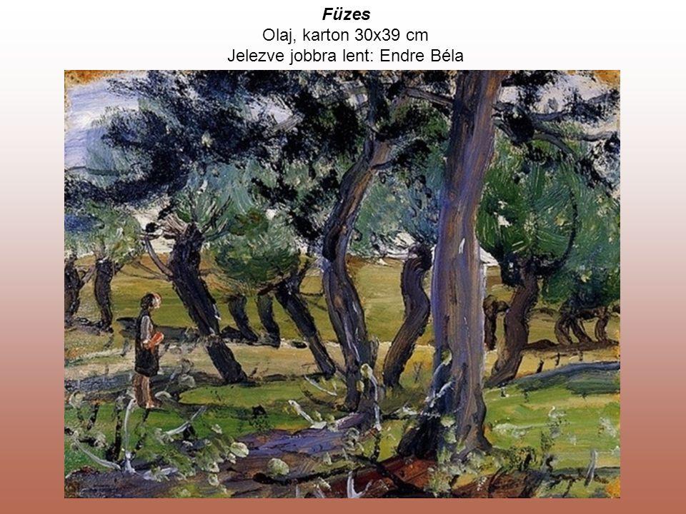 Füzes Olaj, karton 30x39 cm Jelezve jobbra lent: Endre Béla