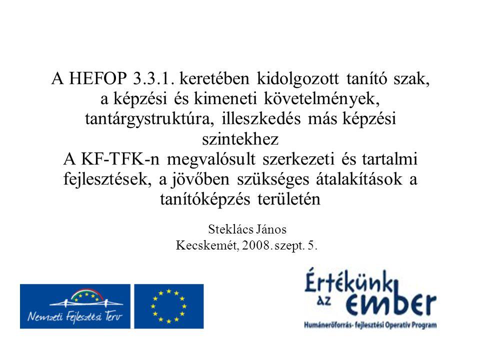 A HEFOP 3.3.1. keretében kidolgozott tanító szak, a képzési és kimeneti követelmények, tantárgystruktúra, illeszkedés más képzési szintekhez A KF-TFK-