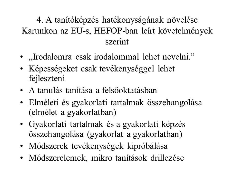 """4. A tanítóképzés hatékonyságának növelése Karunkon az EU-s, HEFOP-ban leírt követelmények szerint """"Irodalomra csak irodalommal lehet nevelni."""" Képess"""