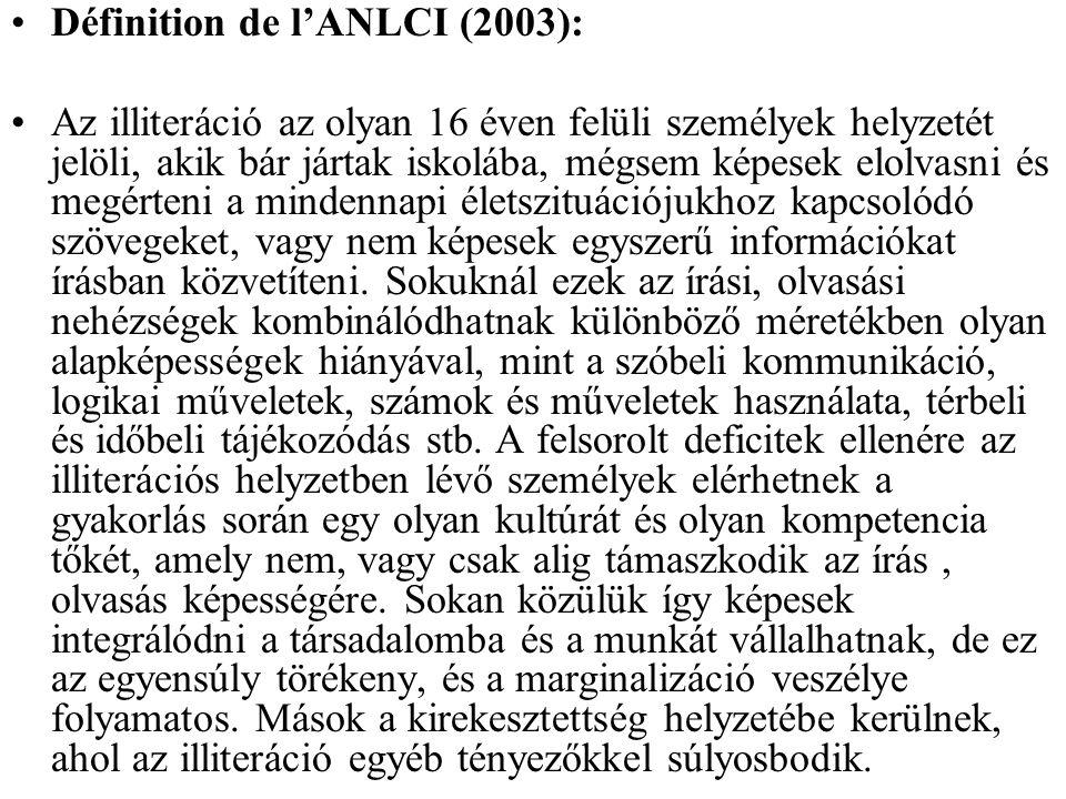 Définition de l'ANLCI (2003): Az illiteráció az olyan 16 éven felüli személyek helyzetét jelöli, akik bár jártak iskolába, mégsem képesek elolvasni és