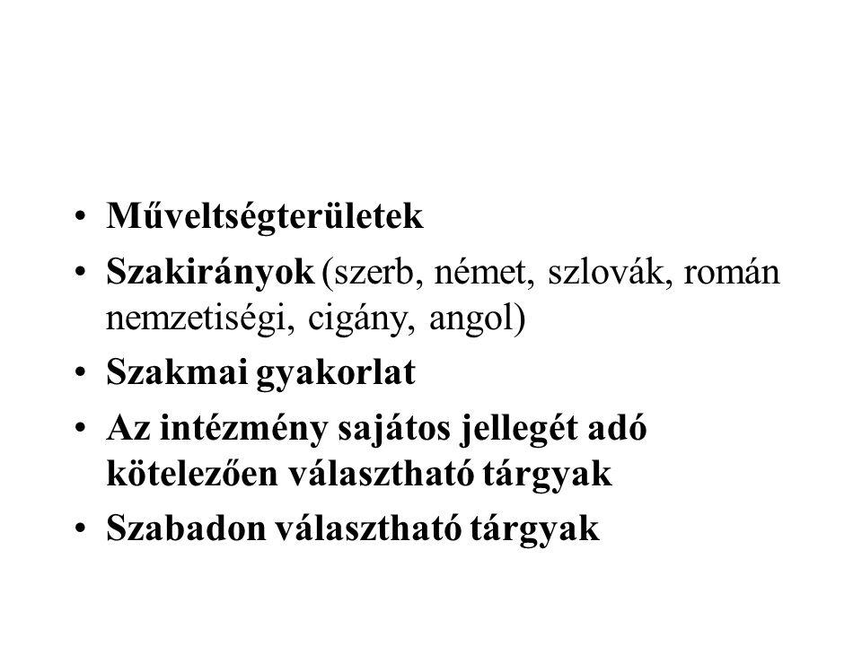 Műveltségterületek Szakirányok (szerb, német, szlovák, román nemzetiségi, cigány, angol) Szakmai gyakorlat Az intézmény sajátos jellegét adó kötelezőe