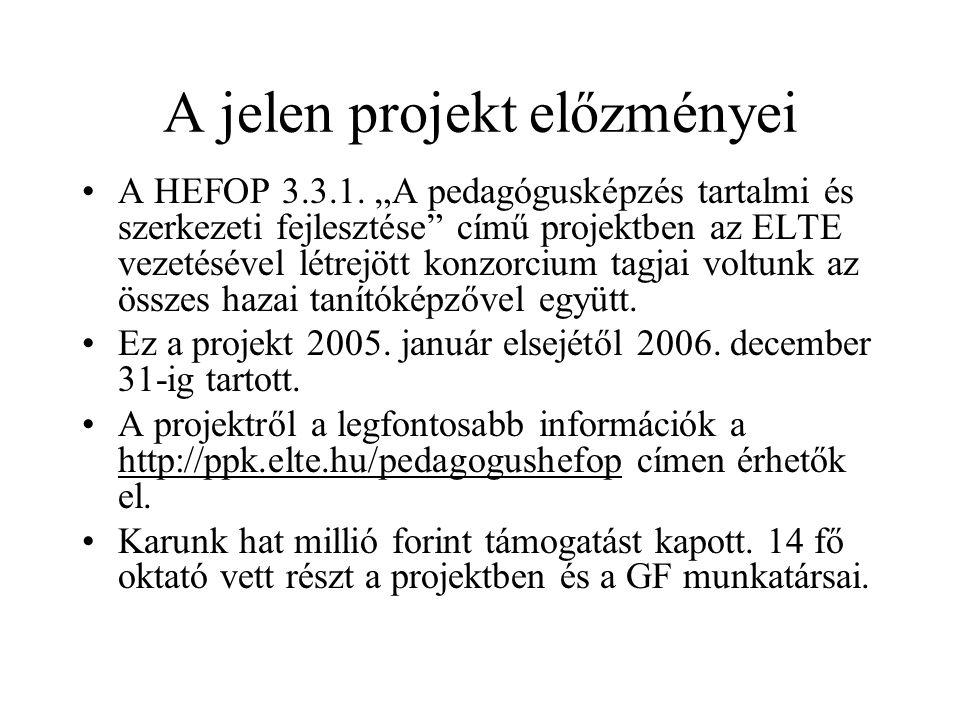 """A jelen projekt előzményei A HEFOP 3.3.1. """"A pedagógusképzés tartalmi és szerkezeti fejlesztése"""" című projektben az ELTE vezetésével létrejött konzorc"""