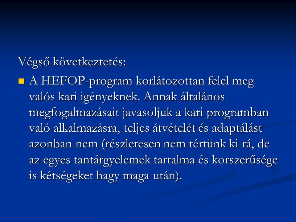 Végső következtetés: A HEFOP-program korlátozottan felel meg valós kari igényeknek.