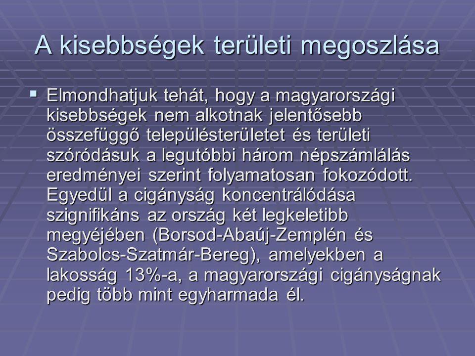 A kisebbségek területi megoszlása  Elmondhatjuk tehát, hogy a magyarországi kisebbségek nem alkotnak jelentősebb összefüggő településterületet és ter