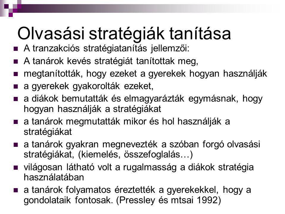 Olvasási stratégiák tanítása A tranzakciós stratégiatanítás jellemzői: A tanárok kevés stratégiát tanítottak meg, megtanították, hogy ezeket a gyereke