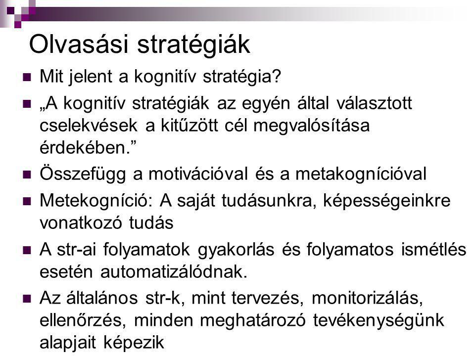 A reciprok olvasástanítási módszer Palincsar 1986-tól Négy központi stratégiai elem: Jóslás, Kérdezés, Tisztázás, Összefoglalás (Fabulous Four, Nagyszerű Négyes, Be the Teacher) Kiemelt szerep a szövegértő olvasás tanításában, mert magában foglalja a jó olvasó által használt legfontosabb str-ákat: Előzetes áttekintés, önmagunk kérdezése, vizualizálás, összefüggések feltárása, monitorizálás, összefoglalás, értékelés