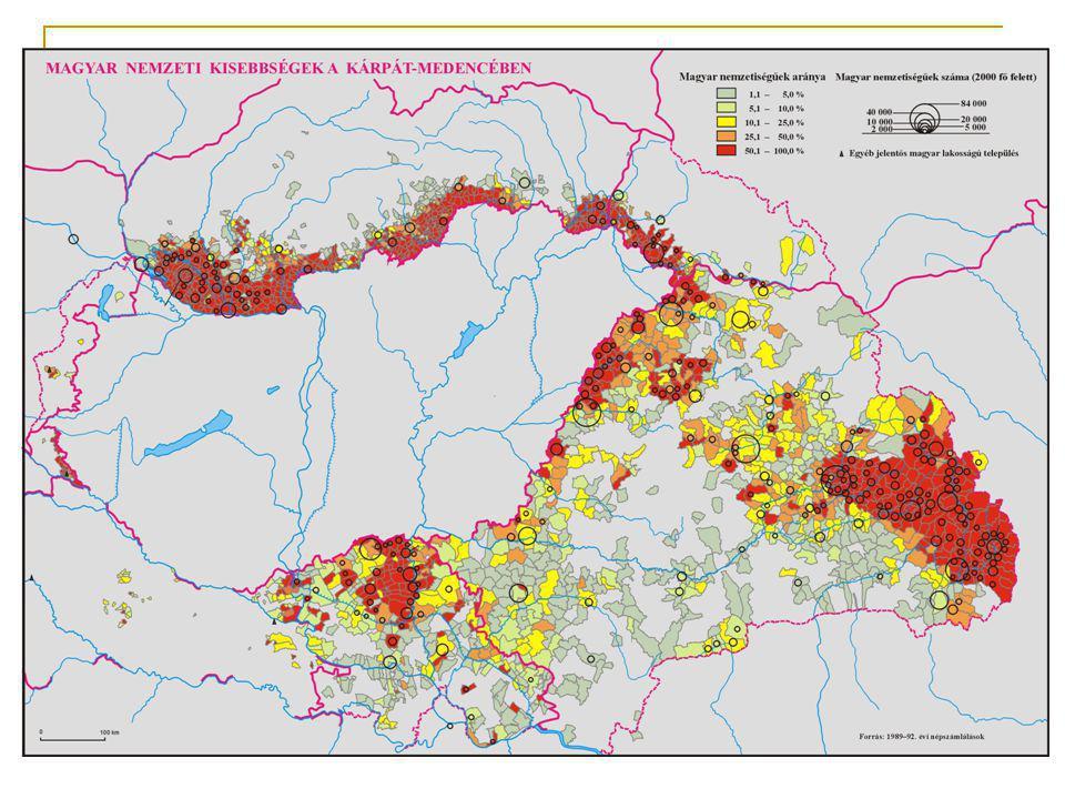 Magyar nemzetiségűek 1991-ben 2001-benA csökkenés mértéke (1991 =100%) Szlovákiában 567296 520528 – 8,2% Ukrajnában 163111 (1989) 156600 – 4% Romániában 1 624959 (1992) 1 434377 (2002) – 11,73% Szerbiában (Vajdaság) 339491 290207 (2002) – 15,5% Horvátországban 22355 16595 – 25,8% Szlovéniában 8053 6243 (2002) – 22,5% Magyar nyelvcsoportok Ausztriában/Burgenlandban 4973 4704 – 5,5% – Felsőőr/Oberwart 1514 1044 – 31% – Ausztriában magyar köznyelvűek (Umgangssprache) 33459 40583 + 21%