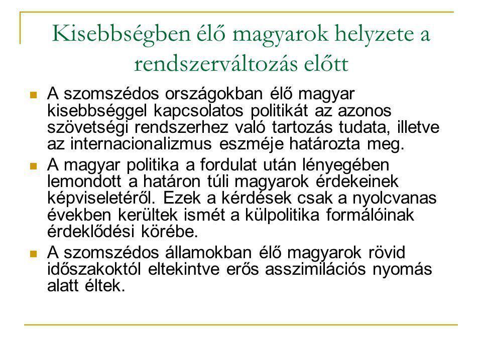 Kisebbségben élő magyarok helyzete a rendszerváltozás előtt A szomszédos országokban élő magyar kisebbséggel kapcsolatos politikát az azonos szövetségi rendszerhez való tartozás tudata, illetve az internacionalizmus eszméje határozta meg.