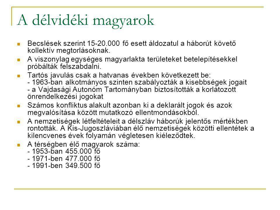 A délvidéki magyarok Becslések szerint 15-20.000 fő esett áldozatul a háborút követő kollektív megtorlásoknak.
