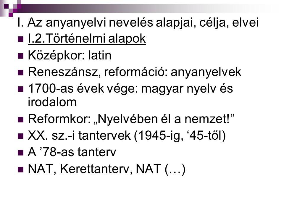 I. Az anyanyelvi nevelés alapjai, célja, elvei I.2.Történelmi alapok Középkor: latin Reneszánsz, reformáció: anyanyelvek 1700-as évek vége: magyar nye