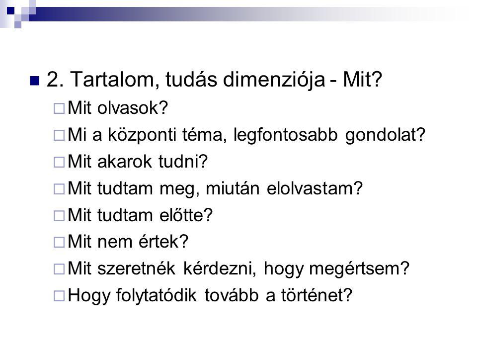 2. Tartalom, tudás dimenziója - Mit?  Mit olvasok?  Mi a központi téma, legfontosabb gondolat?  Mit akarok tudni?  Mit tudtam meg, miután elolvast