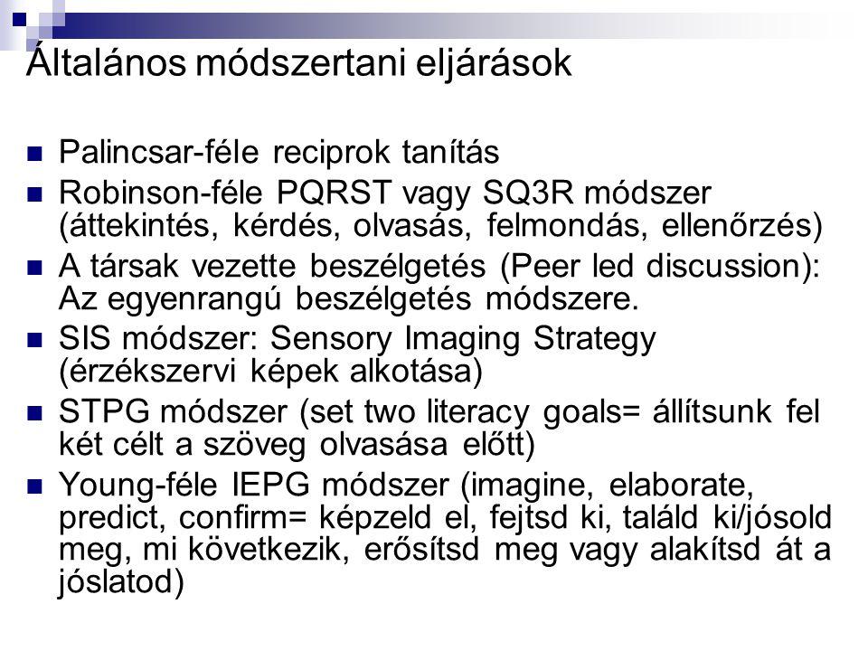 Általános módszertani eljárások Palincsar-féle reciprok tanítás Robinson-féle PQRST vagy SQ3R módszer (áttekintés, kérdés, olvasás, felmondás, ellenőr