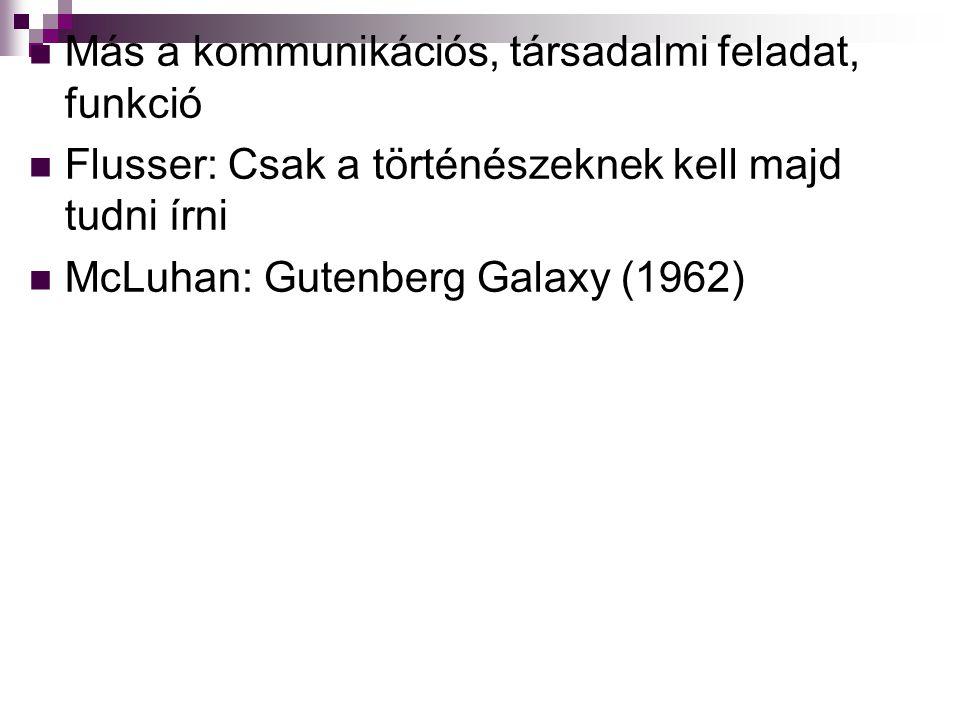 Más a kommunikációs, társadalmi feladat, funkció Flusser: Csak a történészeknek kell majd tudni írni McLuhan: Gutenberg Galaxy (1962)
