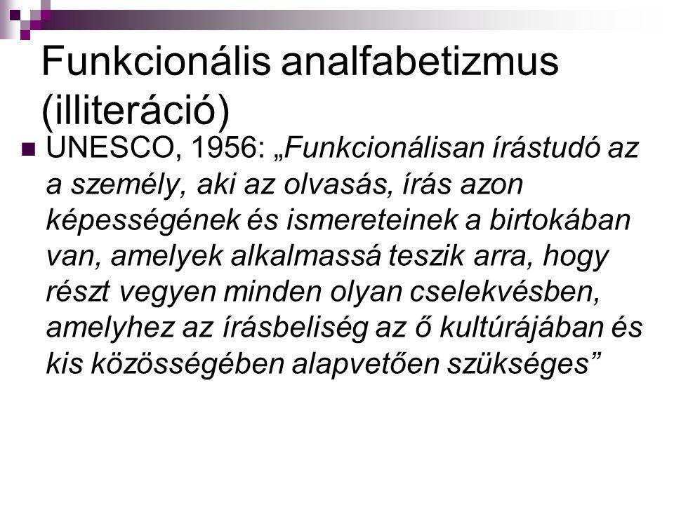 """Funkcionális analfabetizmus (illiteráció) UNESCO, 1956: """"Funkcionálisan írástudó az a személy, aki az olvasás, írás azon képességének és ismereteinek"""
