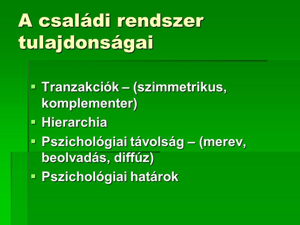 A családi rendszer tulajdonságai  Tranzakciók – (szimmetrikus, komplementer)  Hierarchia  Pszichológiai távolság – (merev, beolvadás, diffúz)  Psz