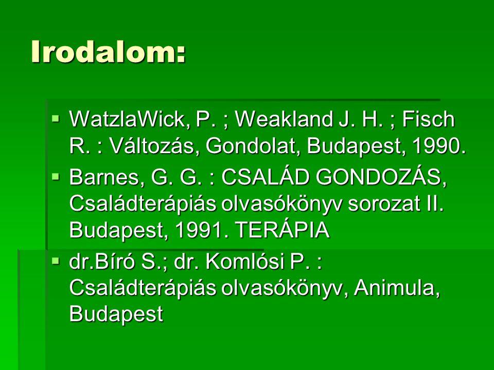 Irodalom:  WatzlaWick, P. ; Weakland J. H. ; Fisch R. : Változás, Gondolat, Budapest, 1990.  Barnes, G. G. : CSALÁD GONDOZÁS, Családterápiás olvasók
