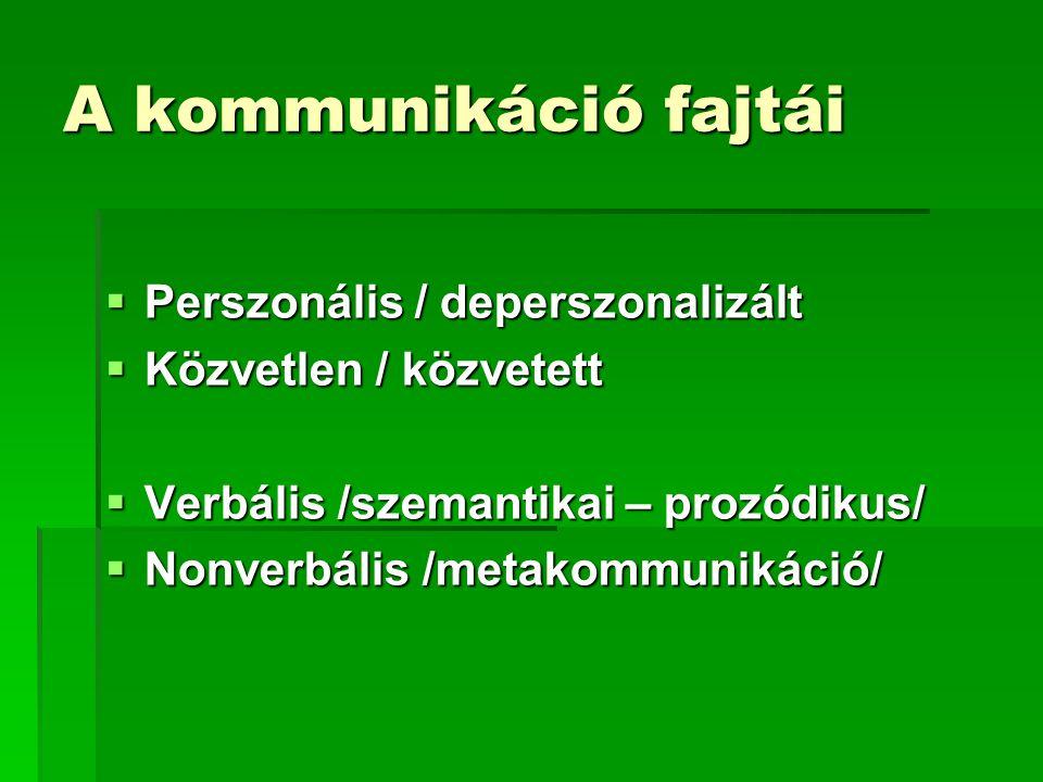 A kommunikáció fajtái  Perszonális / deperszonalizált  Közvetlen / közvetett  Verbális /szemantikai – prozódikus/  Nonverbális /metakommunikáció/