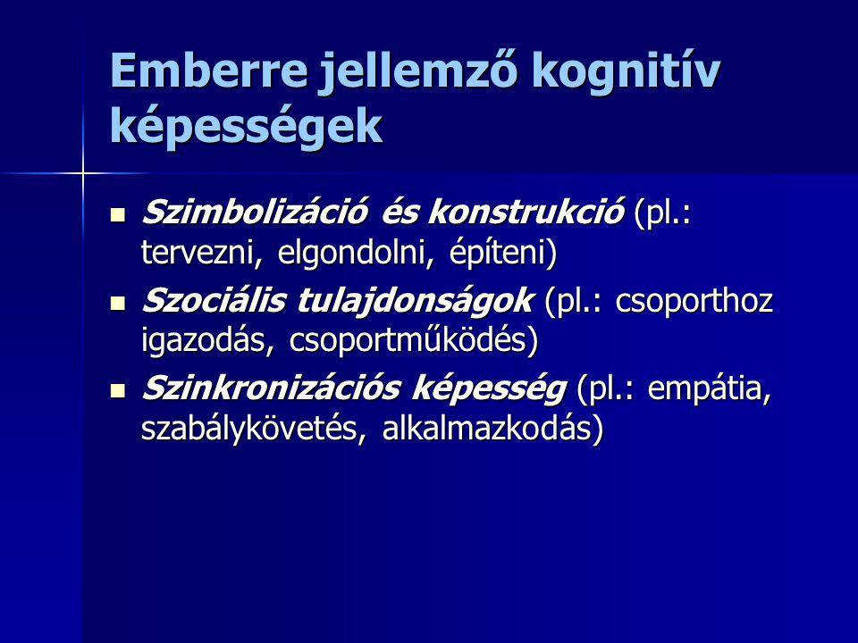 Emberre jellemző kognitív képességek Szimbolizáció és konstrukció (pl.: tervezni, elgondolni, építeni) Szimbolizáció és konstrukció (pl.: tervezni, el