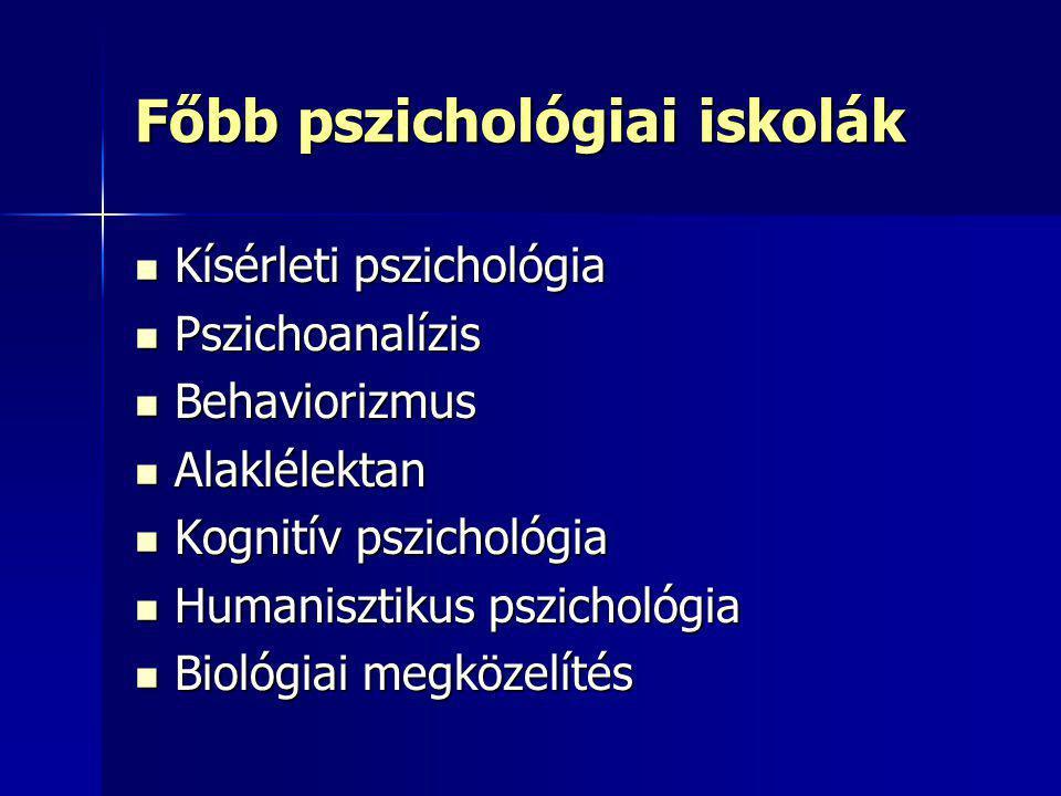Főbb pszichológiai iskolák Kísérleti pszichológia Kísérleti pszichológia Pszichoanalízis Pszichoanalízis Behaviorizmus Behaviorizmus Alaklélektan Alak