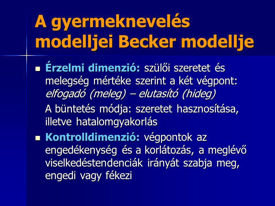 A gyermeknevelés modelljei Becker modellje Érzelmi dimenzió: szülői szeretet és melegség mértéke szerint a két végpont: elfogadó (meleg) – elutasító (
