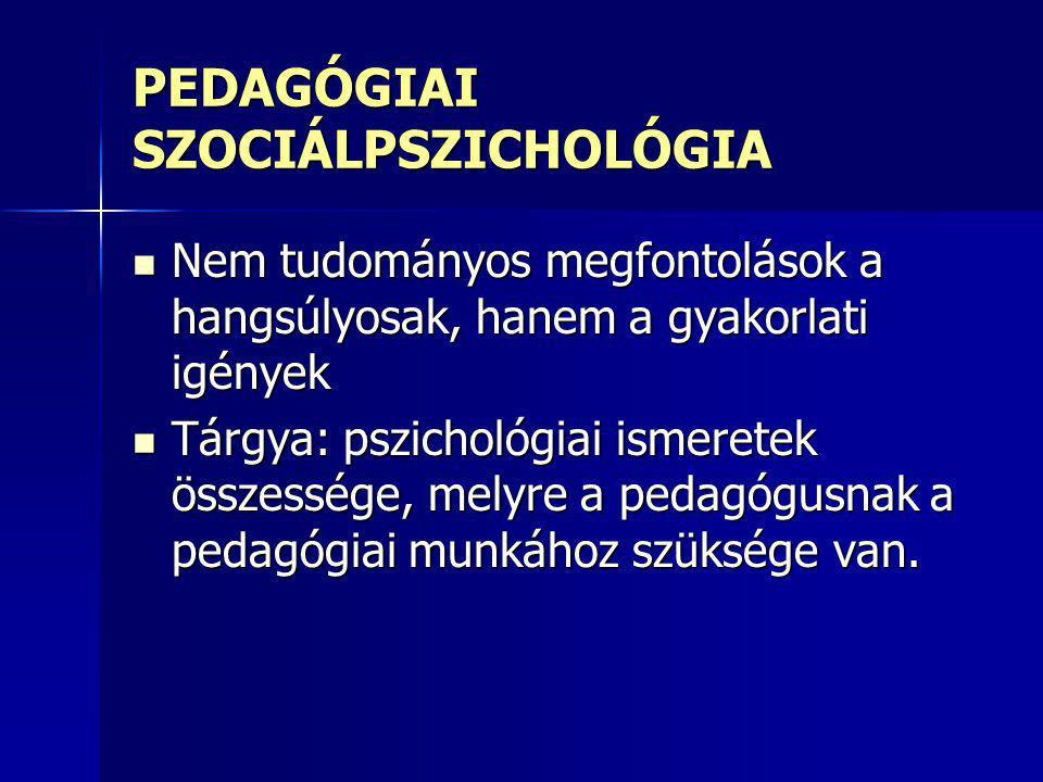 FŐBB TERÜLETEK : Tanuláselméletek Tanuláselméletek Pszichikus fejlődést meghatározó tényezők Pszichikus fejlődést meghatározó tényezők Személyiségfejlődés folyamata Személyiségfejlődés folyamata Tanár – diák tevékenysége és kapcsolata az iskolában Tanár – diák tevékenysége és kapcsolata az iskolában Az oktatás pszichológiai jellemzői Az oktatás pszichológiai jellemzői Iskolai társas lét és közösség jellemzői Iskolai társas lét és közösség jellemzői Módszertan Módszertan