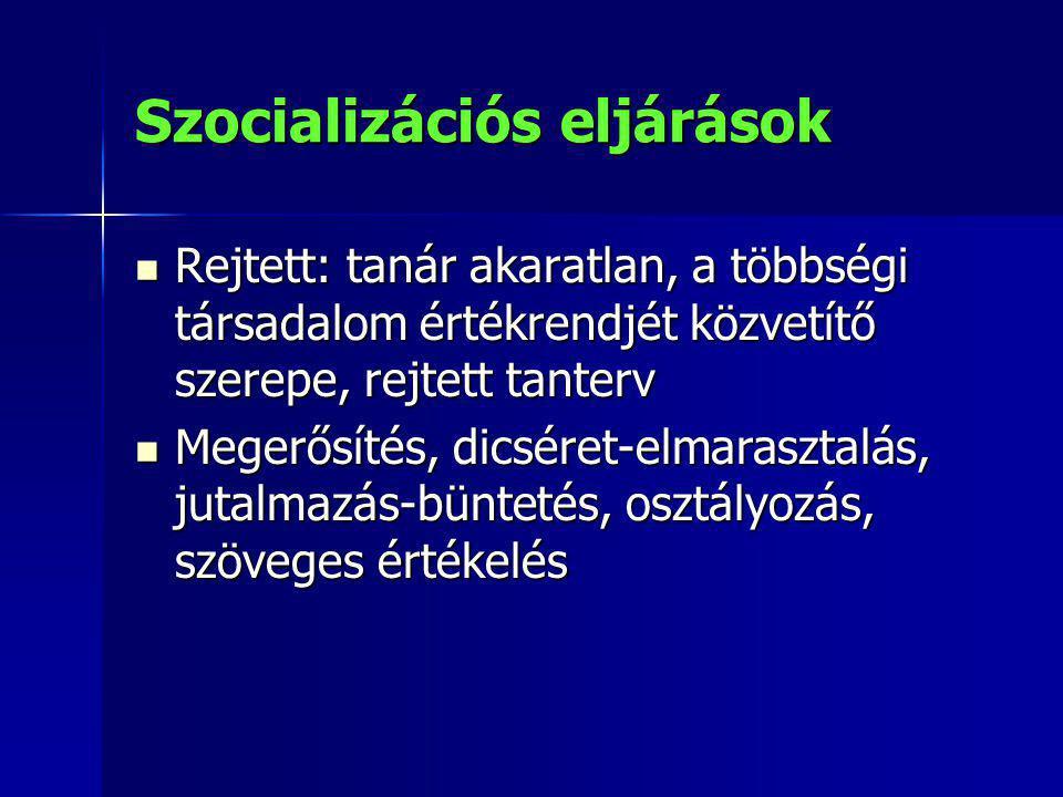 Szocializációs eljárások Rejtett: tanár akaratlan, a többségi társadalom értékrendjét közvetítő szerepe, rejtett tanterv Rejtett: tanár akaratlan, a t