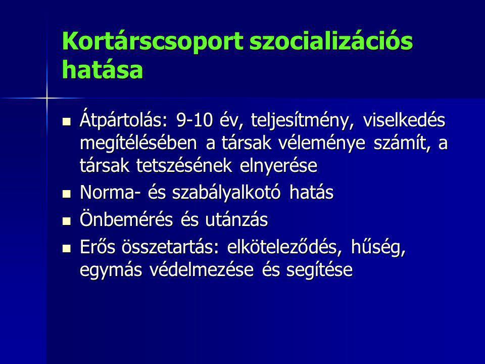 Kortárscsoport szocializációs hatása Átpártolás: 9-10 év, teljesítmény, viselkedés megítélésében a társak véleménye számít, a társak tetszésének elnye