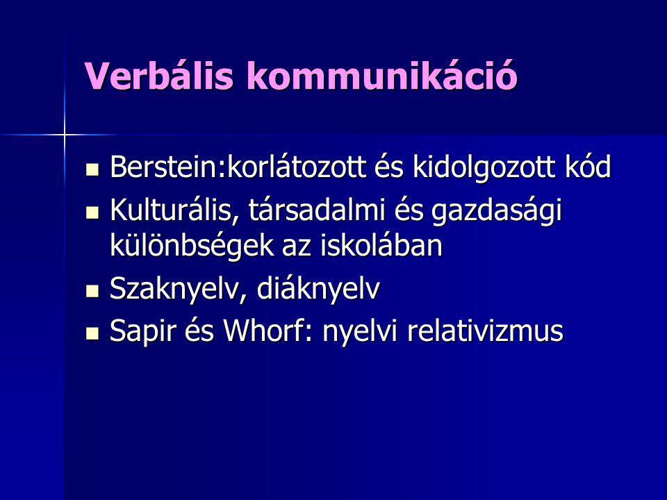 Verbális kommunikáció Berstein:korlátozott és kidolgozott kód Berstein:korlátozott és kidolgozott kód Kulturális, társadalmi és gazdasági különbségek
