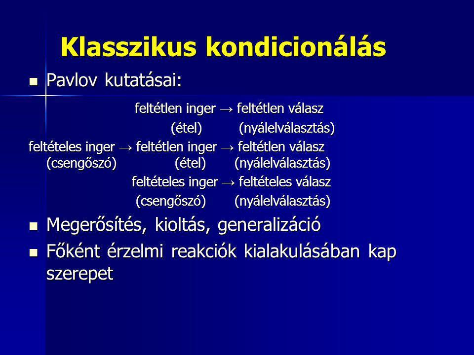 Klasszikus kondicionálás Pavlov kutatásai: Pavlov kutatásai: feltétlen inger → feltétlen válasz feltétlen inger → feltétlen válasz (étel) (nyálelválas