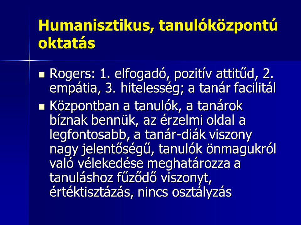 Humanisztikus, tanulóközpontú oktatás Rogers: 1. elfogadó, pozitív attitűd, 2. empátia, 3. hitelesség; a tanár facilitál Rogers: 1. elfogadó, pozitív
