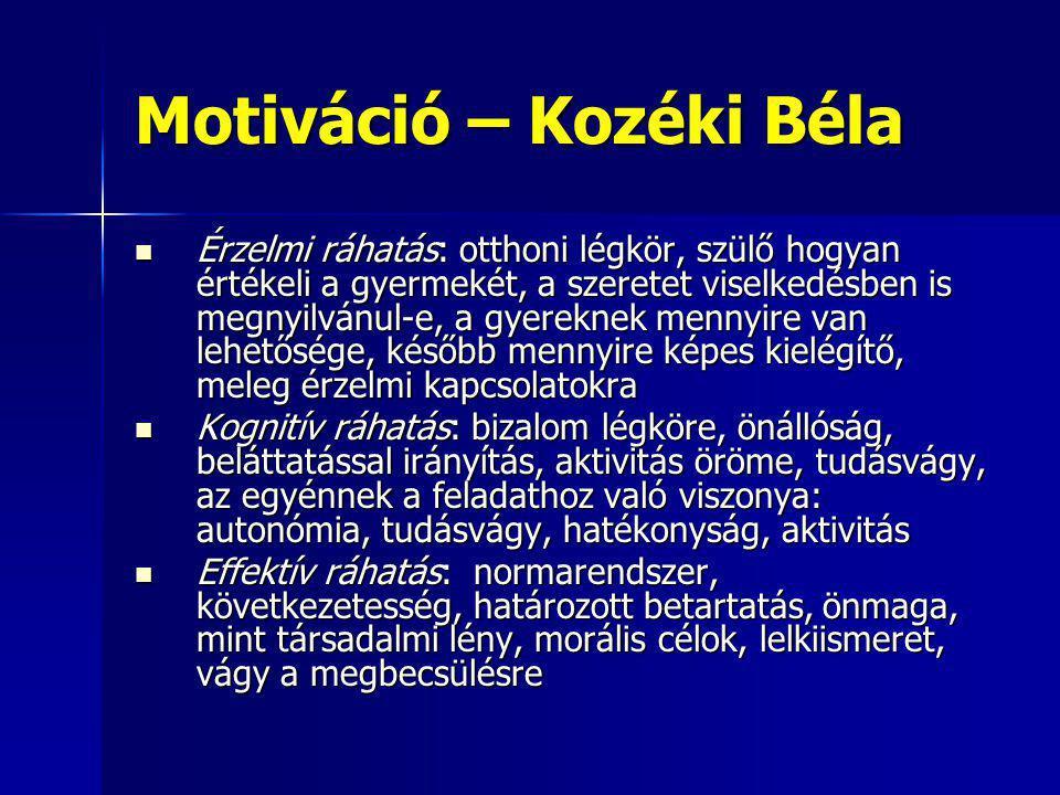Motiváció – Kozéki Béla Érzelmi ráhatás: otthoni légkör, szülő hogyan értékeli a gyermekét, a szeretet viselkedésben is megnyilvánul-e, a gyereknek me