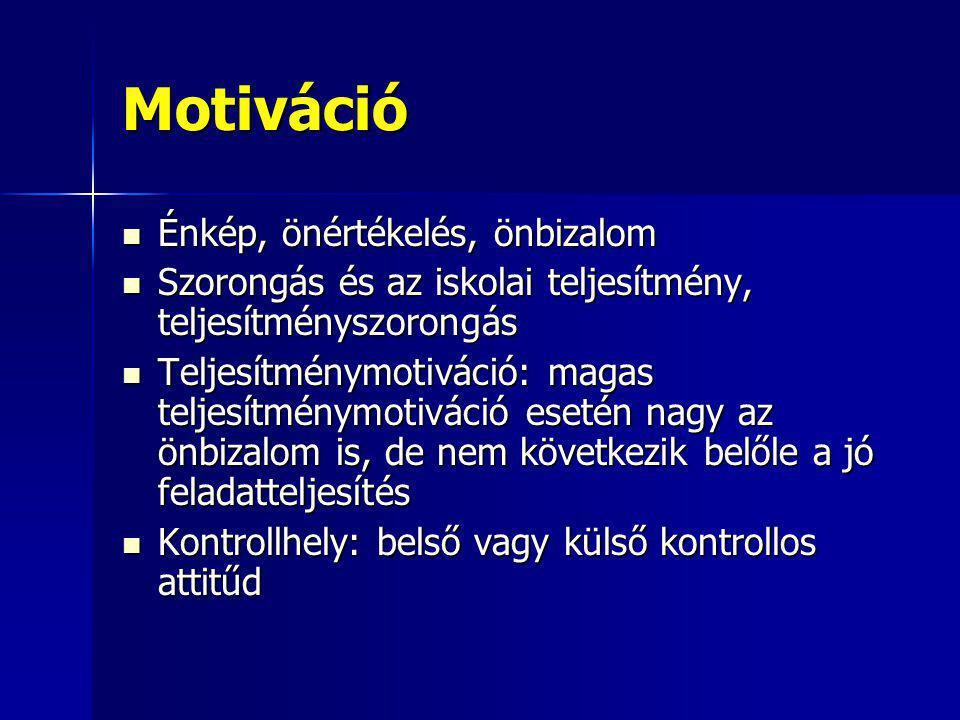Motiváció Énkép, önértékelés, önbizalom Énkép, önértékelés, önbizalom Szorongás és az iskolai teljesítmény, teljesítményszorongás Szorongás és az isko