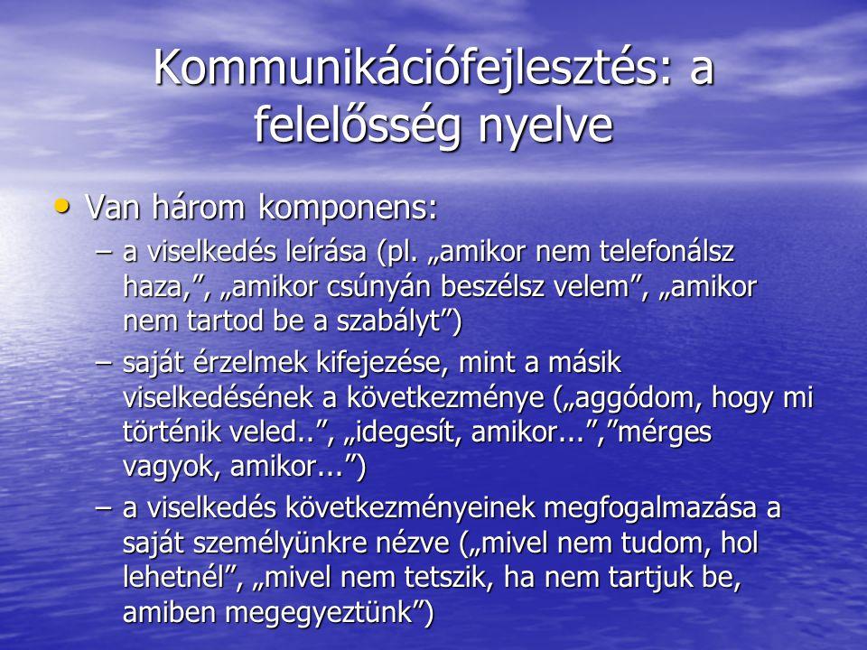 """Kommunikációfejlesztés: a felelősség nyelve Van három komponens: Van három komponens: –a viselkedés leírása (pl. """"amikor nem telefonálsz haza,"""", """"amik"""