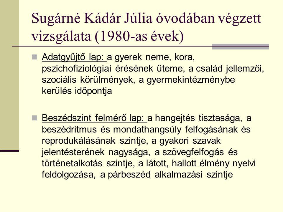 Sugárné Kádár Júlia óvodában végzett vizsgálata (1980-as évek) Adatgyűjtő lap: a gyerek neme, kora, pszichofiziológiai érésének üteme, a család jellem