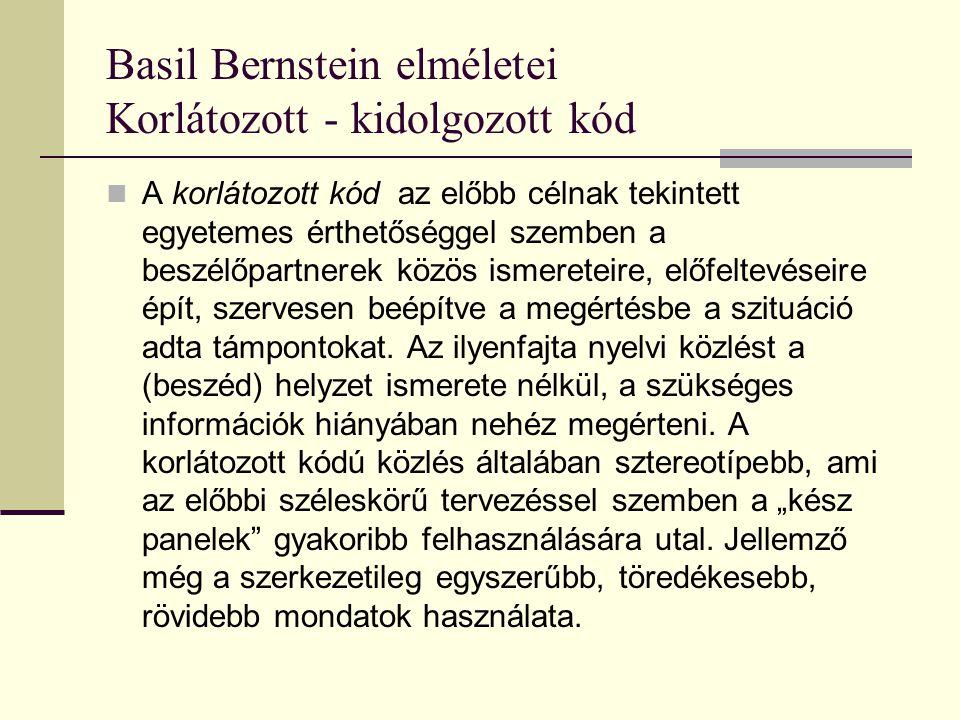 Basil Bernstein elméletei Korlátozott - kidolgozott kód A korlátozott kód az előbb célnak tekintett egyetemes érthetőséggel szemben a beszélőpartnerek