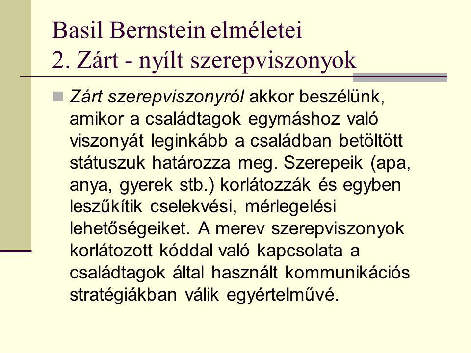 Basil Bernstein elméletei Zárt - nyílt szerepviszonyok A nyílt szerepviszonyokban ezzel szemben az egyénnek lehetősége van arra, hogy áttörve családi pozíciójának korlátait, saját maga vívjon ki egy szerepet, ami ily módon alkalmat ad a státuszok rugalmas kezelésére.