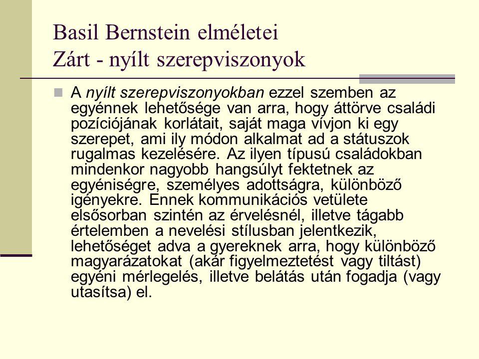 Basil Bernstein elméletei Zárt - nyílt szerepviszonyok A nyílt szerepviszonyokban ezzel szemben az egyénnek lehetősége van arra, hogy áttörve családi
