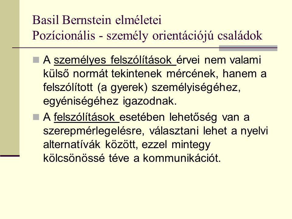 Basil Bernstein elméletei Pozícionális - személy orientációjú családok A pozícionális felszólítások esetében az érv valamely egyéni vagy egyetemes státussal járó norma: Kor-státus szabály: Már elég nagy vagy ehhez, próbáld meg egyedül.
