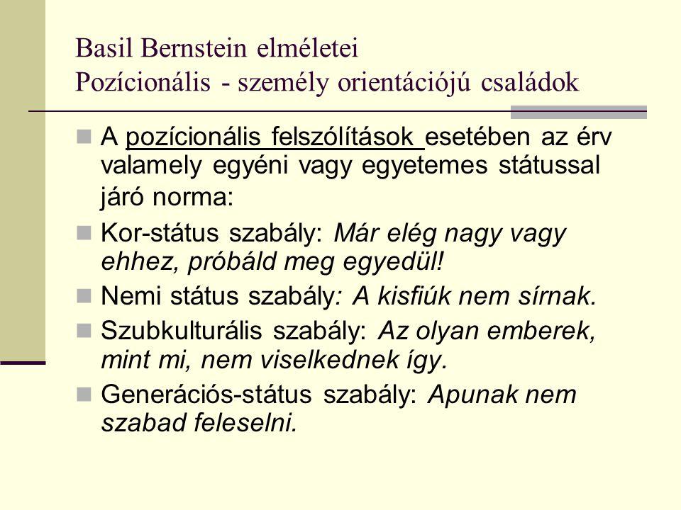 Basil Bernstein elméletei Pozícionális - személy orientációjú családok A pozícionális felszólítások esetében az érv valamely egyéni vagy egyetemes stá