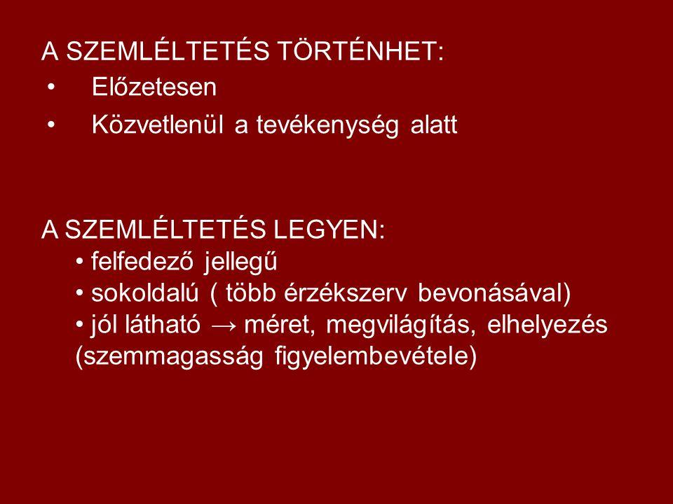 MUNKAKERETEK és MÓDSZEREK ÖSSZEFÜGGÉSEI SZEMLÉLTETÉS MAGYARÁZAT BEMUTATÁS BESZÉLGETÉS ELLENŐRZÉS ÉRTÉKELÉS GYAKORLÁS BESZÉLGETÉS ELŐZETES SZEMLÉLTETÉS ELBESZÉLÉS ELLENŐRZÉS ÉRTÉKELÉS GYAKORLÁS ELBESZÉLÉS, MESÉLÉS ELLENŐRZÉS ÉRTÉKELÉS GYAKORLÁS BESZÉLGETÉS EGYÉNILEG NINCS: CSOPORTOS BESZÉLGETÉS MAGYARÁZAT BEMUTATÁS, SZEMLÉLTETÉS SZEMLÉLTETÉS MAGYARÁZAT BEMUTATÁS BESZÉLGETÉS ELLENŐRZÉS ÉRTÉKELÉS GYAKORLÁS MAGYARÁZAT BEMUTATÁS BESZÉLGETÉS ELLENŐRZÉS ÉRTÉKELÉS GYAKORLÁS