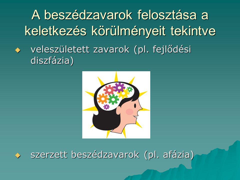 A beszédzavarok felosztása a keletkezés körülményeit tekintve  veleszületett zavarok (pl. fejlődési diszfázia)  szerzett beszédzavarok (pl. afázia)