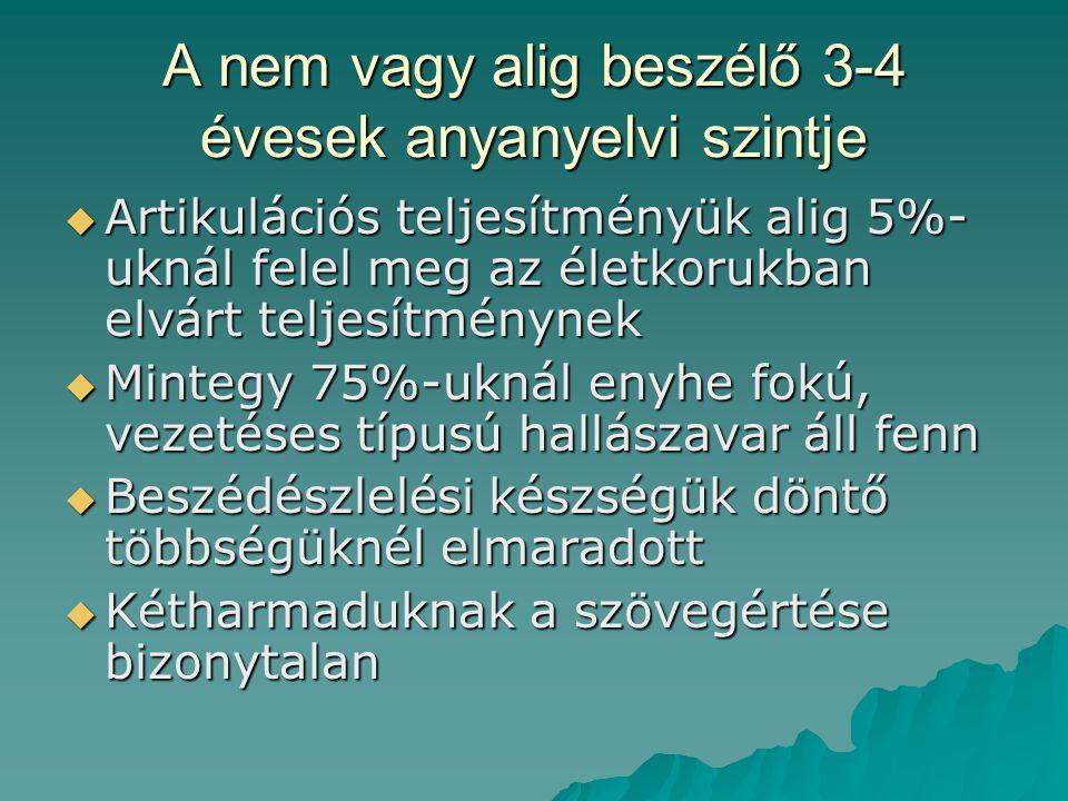 A nem vagy alig beszélő 3-4 évesek anyanyelvi szintje  Artikulációs teljesítményük alig 5%- uknál felel meg az életkorukban elvárt teljesítménynek 