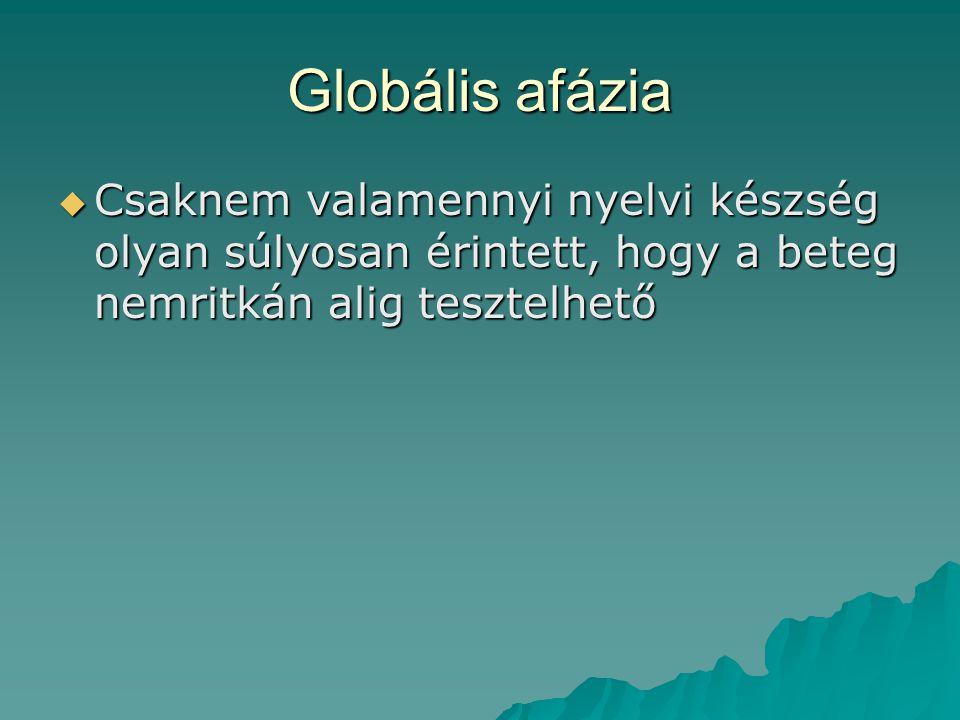 Globális afázia  Csaknem valamennyi nyelvi készség olyan súlyosan érintett, hogy a beteg nemritkán alig tesztelhető